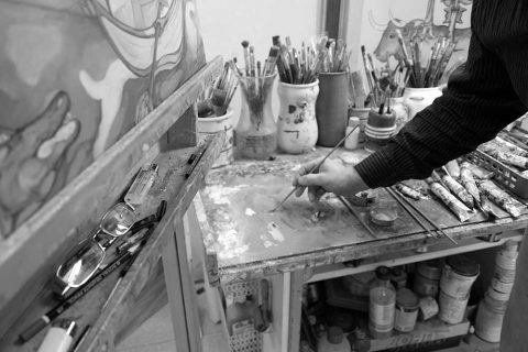 Jose luis olivares pintando