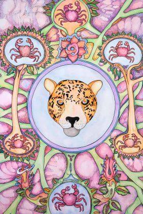 El jaguar, cangrejos y flores